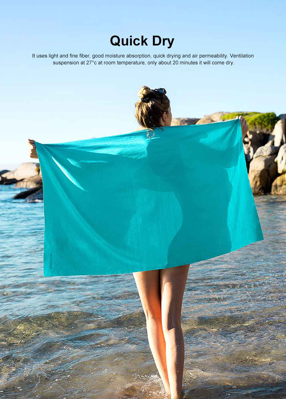 Breathable Quick Dry Soak-in Bath Towel, Towel for Swimming Travelling Beach or Gym, Hygroscopic Towel & Bathing Towel 1