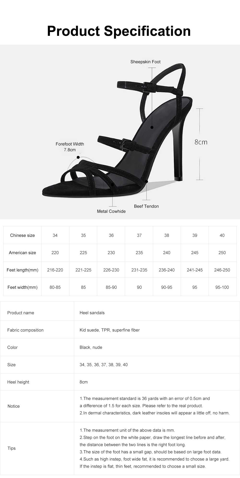 Heel Sandals for Women, Cross Lacing High-heeled Shoes with Fingerless TPR Sole, Kid Suede Heel-height 8cm Leather High Heels 6