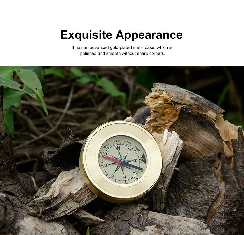 Brass Shell Compass for Mountaineering Camping Waterproof, Outdoor Vehicle-mounted Compass, Magnetic Pocket Directional Compass 1