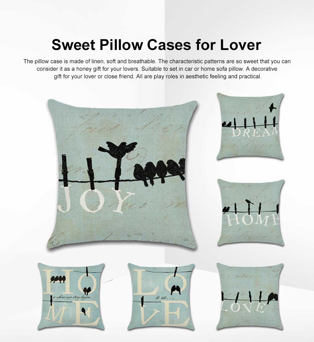 Sweet Pillow Cover for Couples, Birds Pattern Household Pillowcase for Sofa Home Decorative Pillow 45*45cm Pillow Case 0