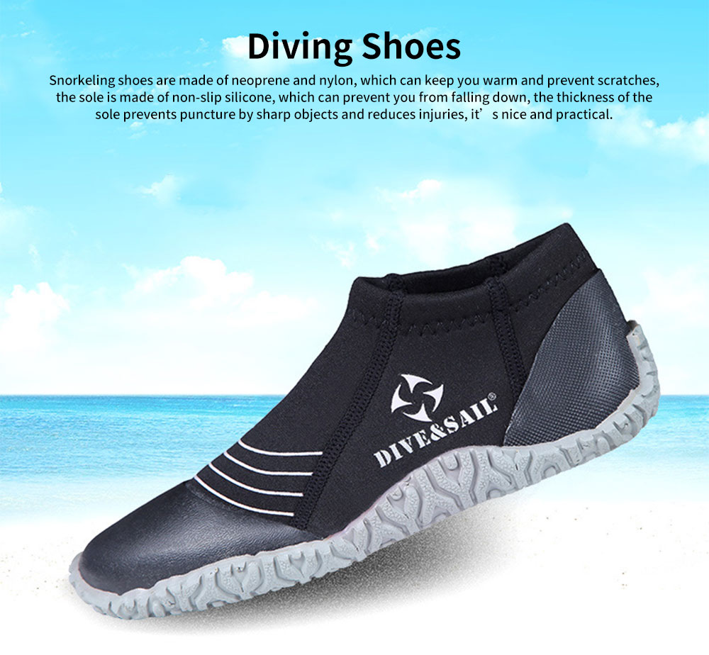 Diving Shoes with Neoprene Nylon Silicone Material, Anti-skid Prevent Scratch Sports Shoes for Men Women, River Tracing Keep Warm Snorkeling Fins Low Shoes 0
