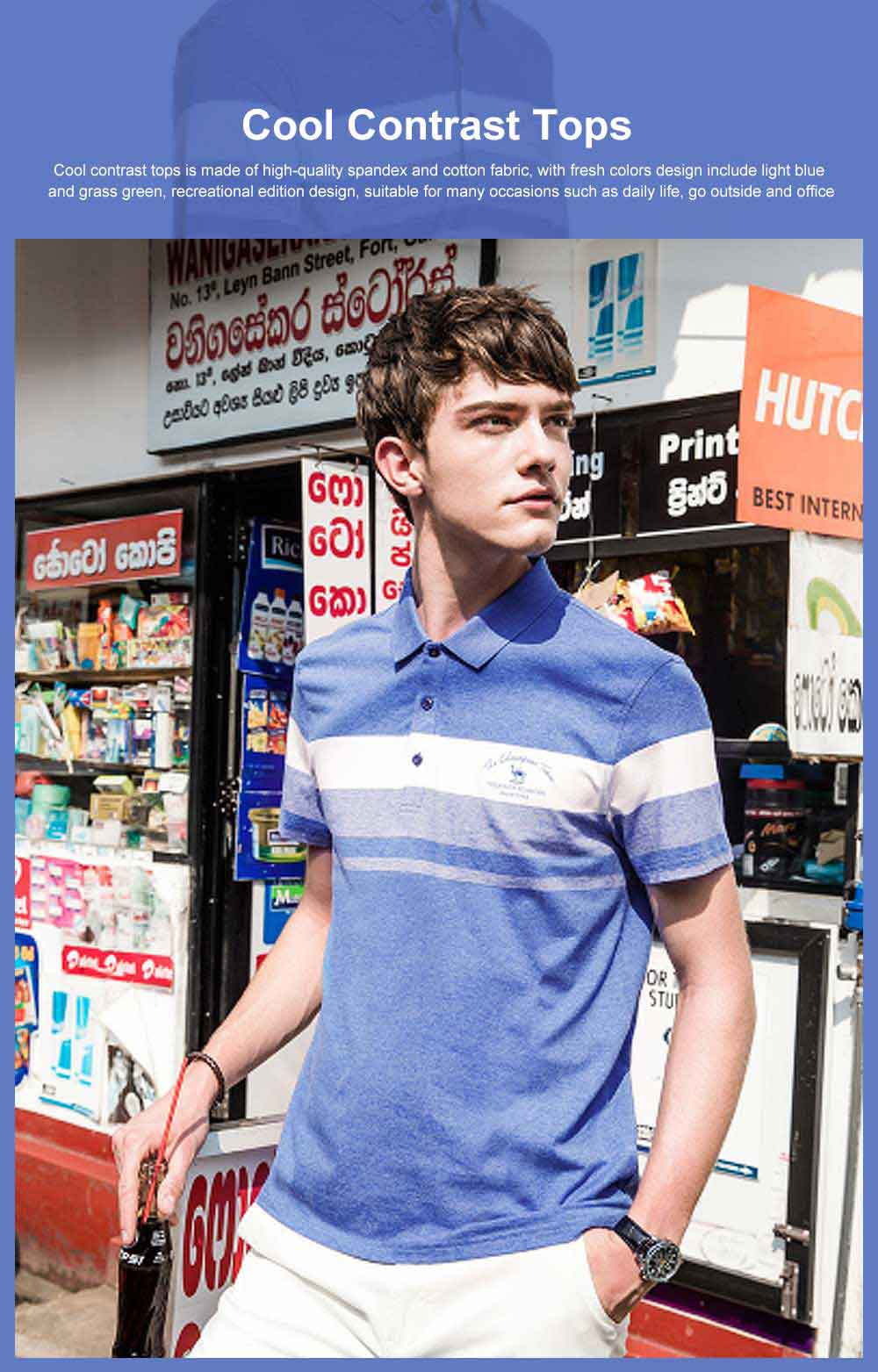 Cool Contrast Tops for Men, Recreational Edition Short-sleeve Polo, Breathable Spandex Cotton T-shirt 0