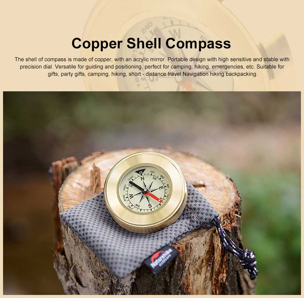 Brass Shell Compass for Mountaineering Camping Waterproof, Outdoor Vehicle-mounted Compass, Magnetic Pocket Directional Compass 0