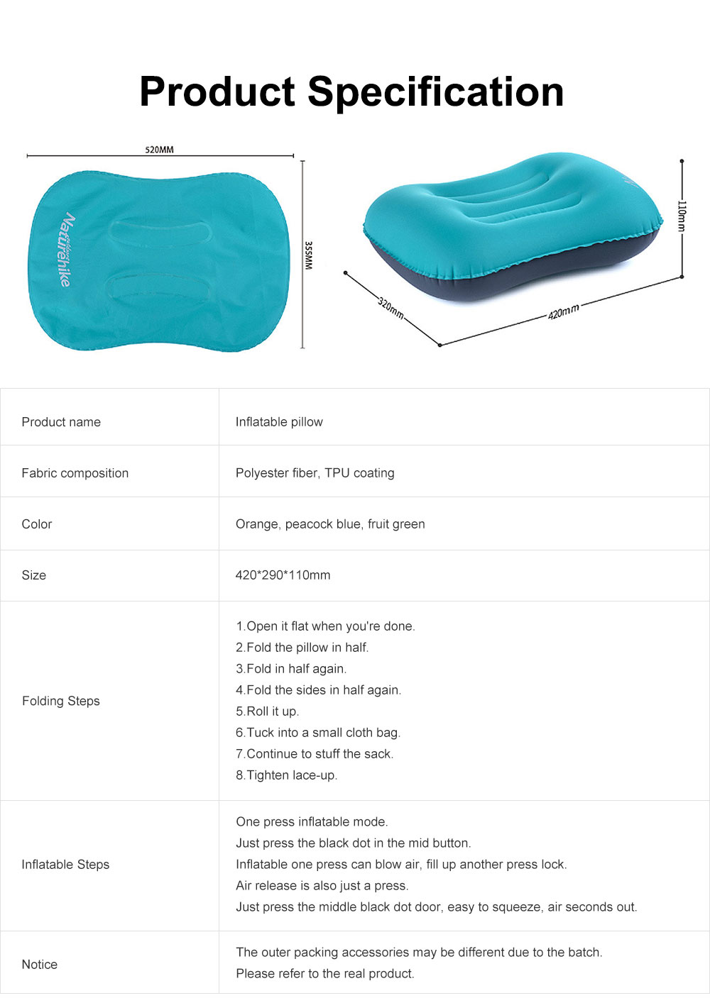 Inflatable Pillow for Outdoors, Office, Traveling, Enthusiast Fit the Neck Curve Pillow, with Pressure Rubber Sealing Side, One Key Charge and Deflate Travel Supply 6