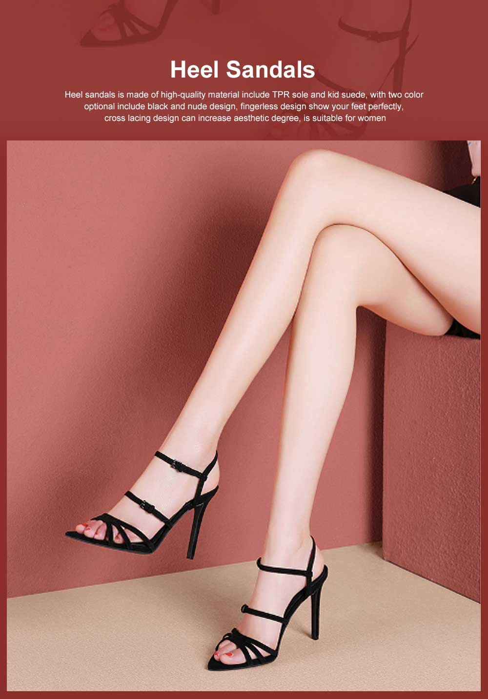 Heel Sandals for Women, Cross Lacing High-heeled Shoes with Fingerless TPR Sole, Kid Suede Heel-height 8cm Leather High Heels 0