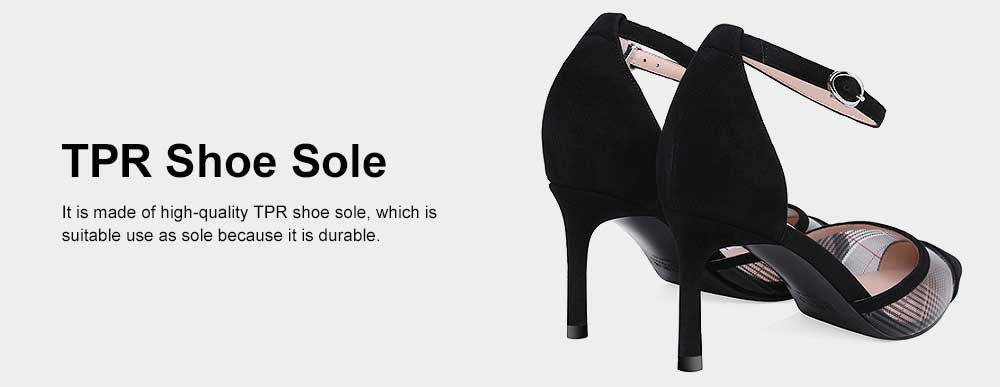 Plaid Sandals for Women, TPR Shoe Sole Sheepskin High Heels, Modified Leg Line Multi-sizes High-heeled Shoes Summer 2019 3