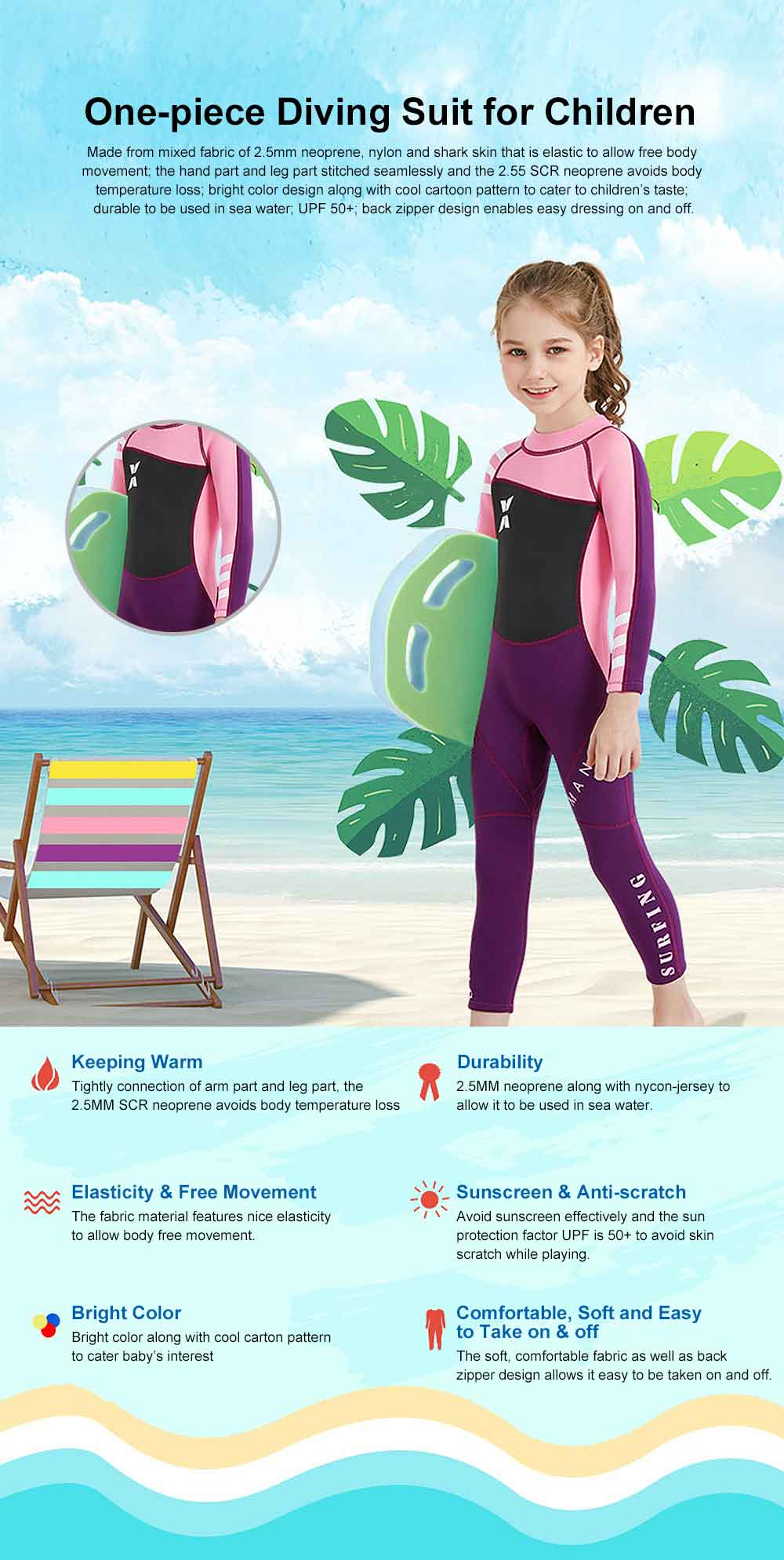 Diving Suit for Girls, 2.5MM One-piece Diving Dress, Thermal Diveing Surfing Dress Snorkeling Jumpsuit, Winter Swimsuit 2019 0