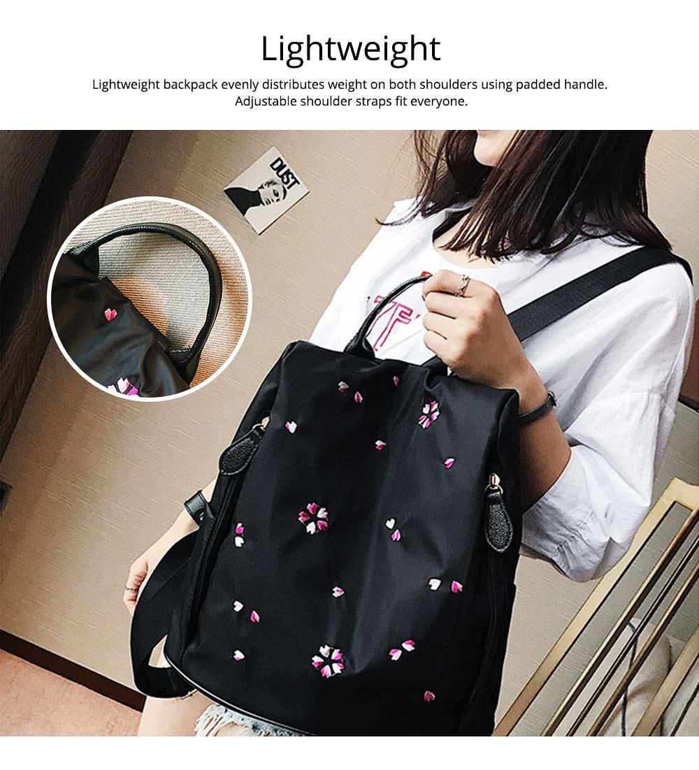 Fashion Black Backpack with Waterproof Nylon, Embroidery Flip Cover Shoulder Bag for Women Zipper Shoulder Bag 2