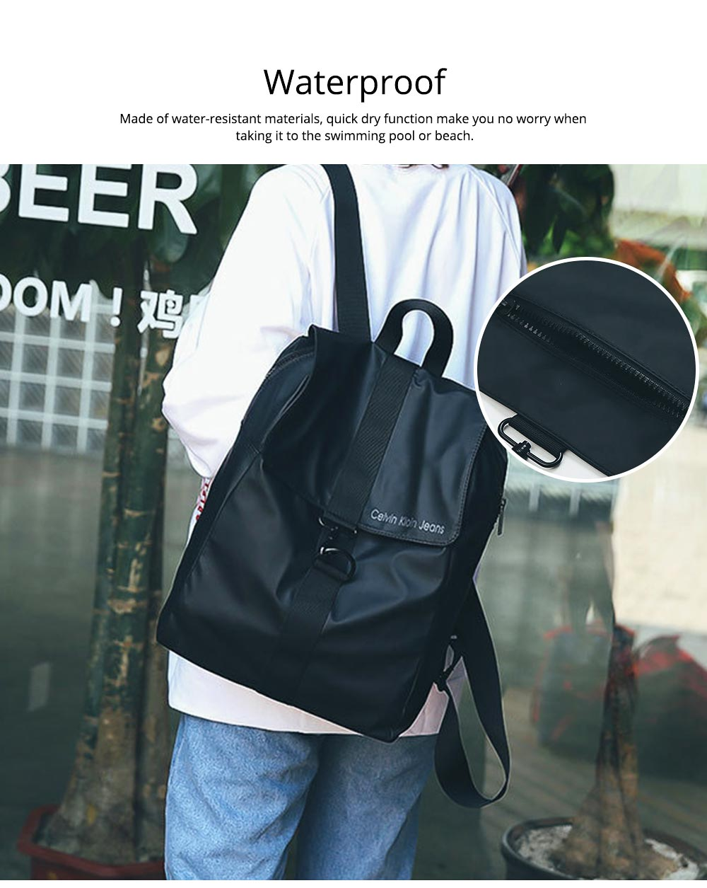 Waterproof Casual Backpack, Lightweight Sackpack with Buckle, Shoulder Bag for Camping, Hiking, Picnic  1