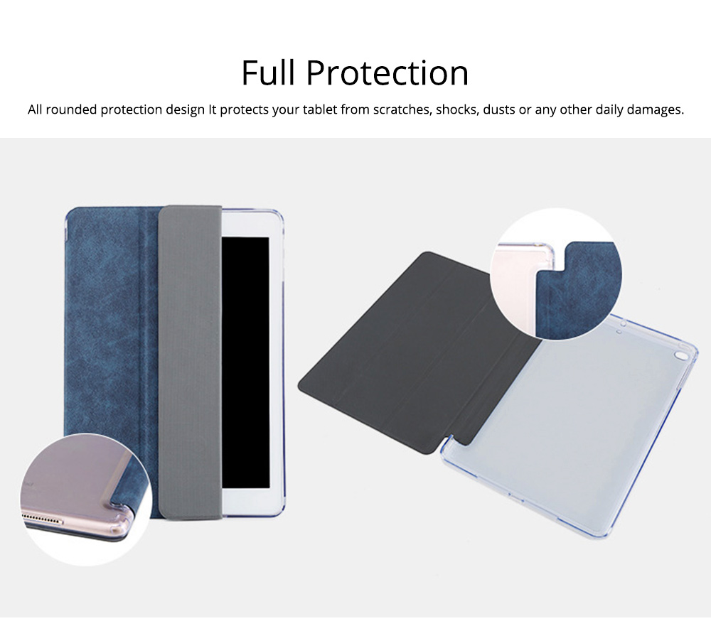 PU Leather Folio Case for iPad Pro 12.9, 10.5, 9.7, Multiple Angles Stand Smart Protective Cover, Trifold Stand Smart Shell Pure Color iPad Case 4