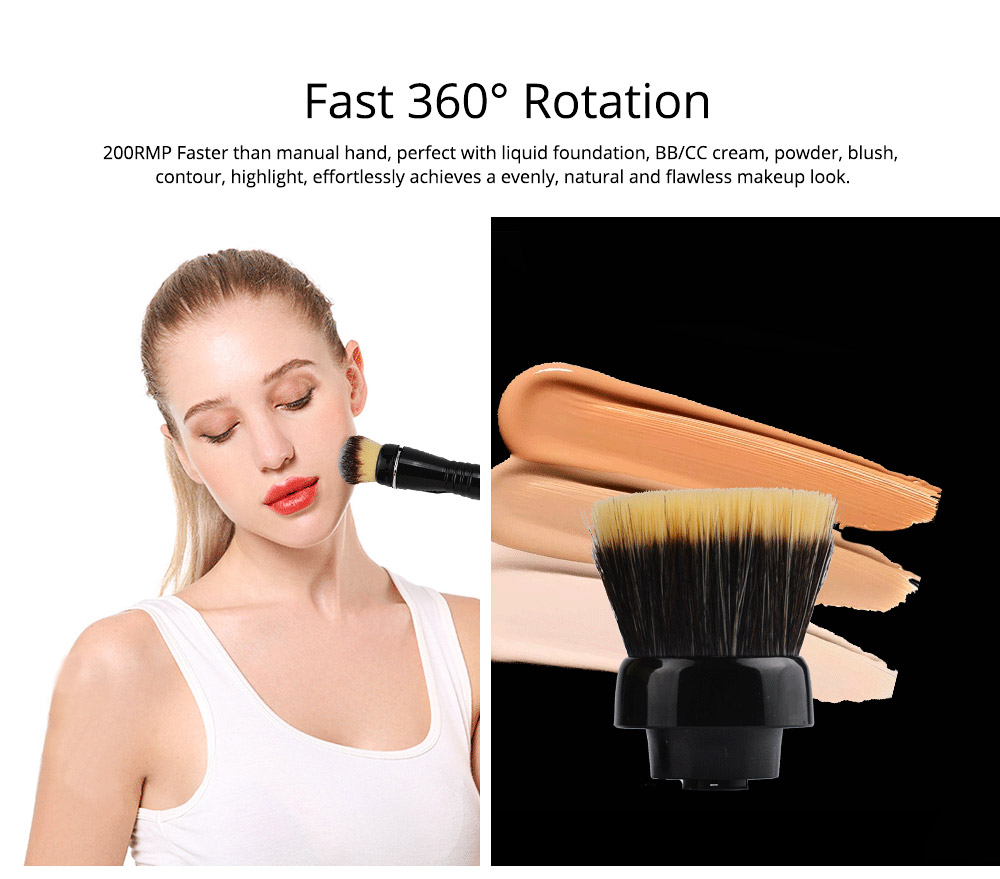 USB Charging Electric Makeup Brush Set, Automatic Cosmetic Brush Spinner with Foundation Powder Brush Head 3