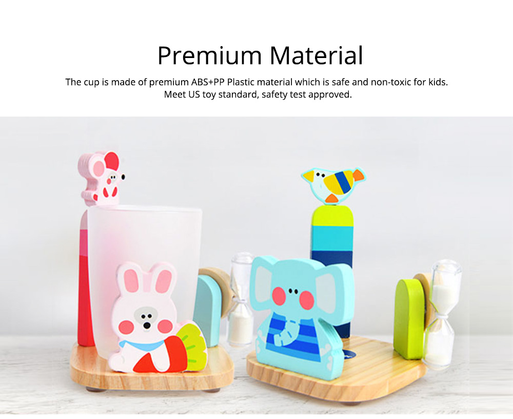 Cartoon Toothbrush Holder Set, Kids Toothbrush Cup Glass with 3 Minutes Sandglass, Timer, Best Gifts for Kids 4