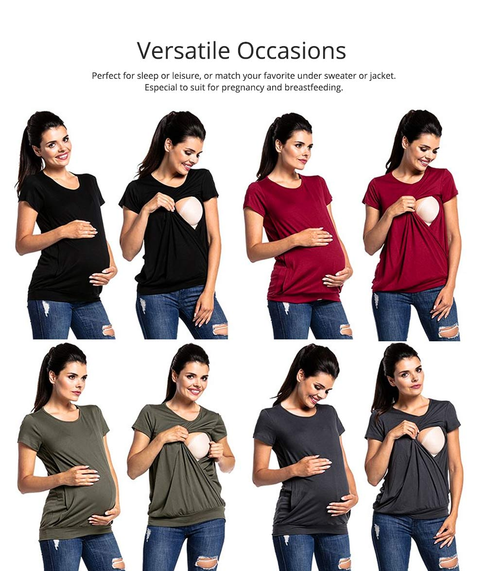 Maternity Women Blouse, Pure Color Nursing T-shirt, Loose Tunic Tops Short Sleeve Breastfeeding Top 1