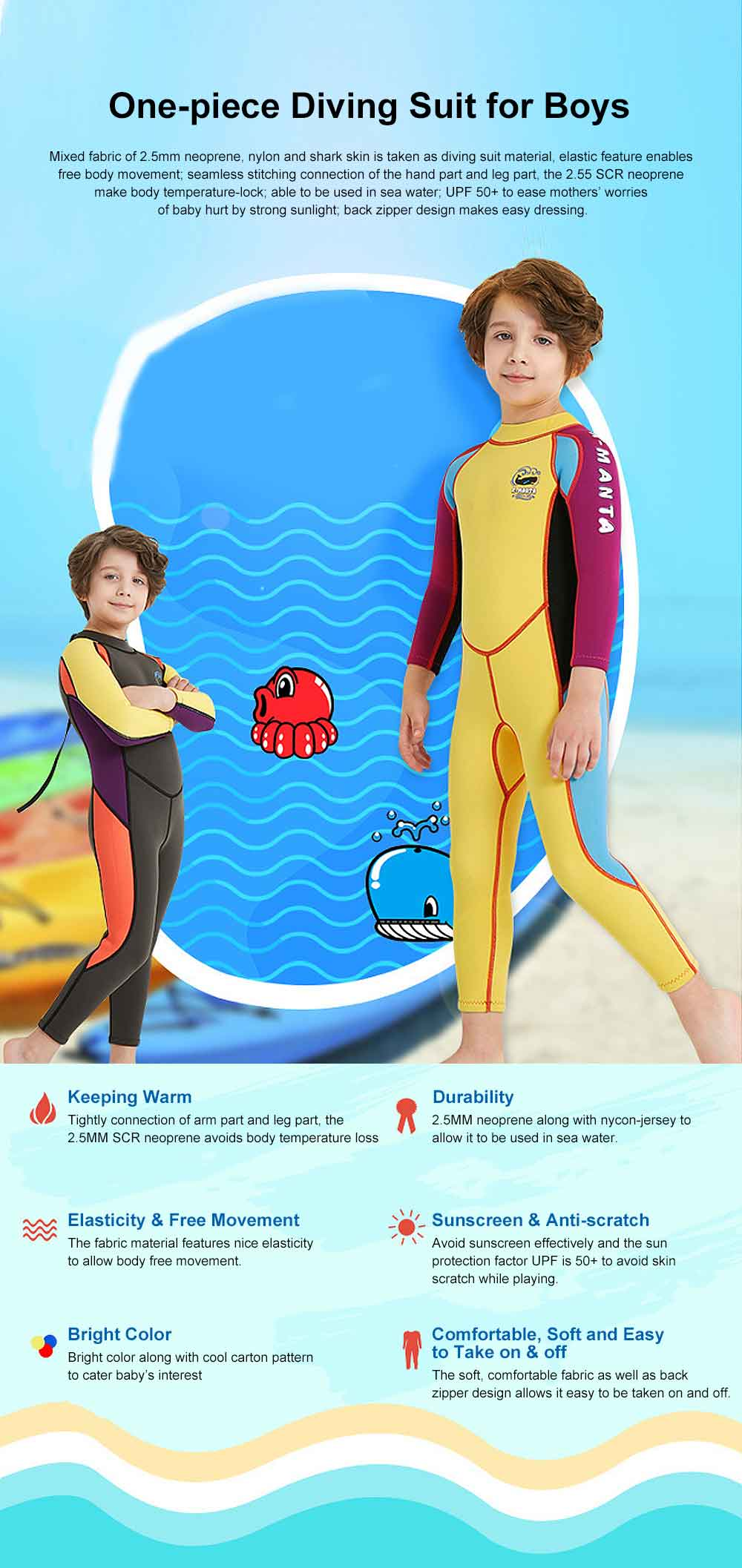 One-piece Boy Diving Suit, Long Sleeve Diving Clothes for Boys, Sunblock Swimsuits Snorkeling 2019 Spring Surfing Swimwear 0