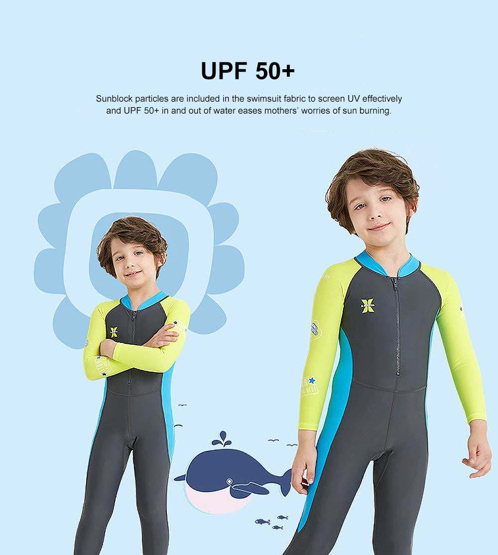 New Style Diving Suit for Children, Outdoor Used One-piece Sunscreen Diving Dress, Long Sleeves Quick-dry Children's Swimsuits All Season 2