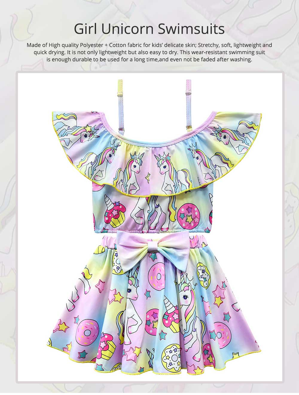 Girl Unicorn Printed Swimsuits, Cute One-Piece Ruffle Swimwear for Beach 3-10 Years Old Girls Bathing Suit  0