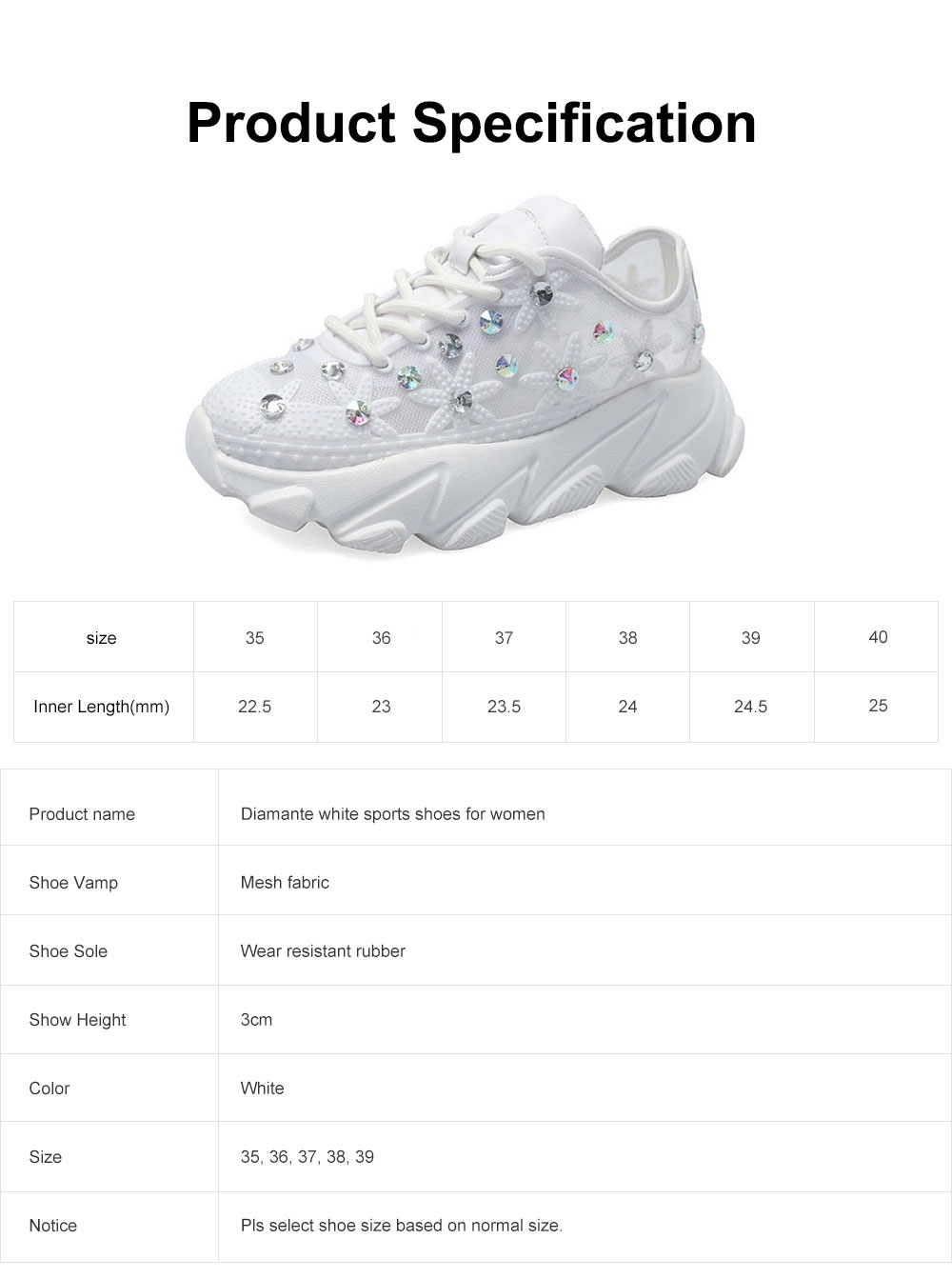 Diamante White Shoes with Grenadine Fabric, Thick Heel Casual Style Sneakers, Thin Gym Shoes 2019 Summer Spring 6