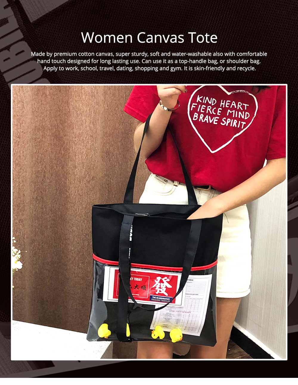 Canvas Tote Cute Duck Handbags for Women, Casual Shoulder Work Bag Crossbody Bags for Dating, Traveling, Shopping, Gym 0