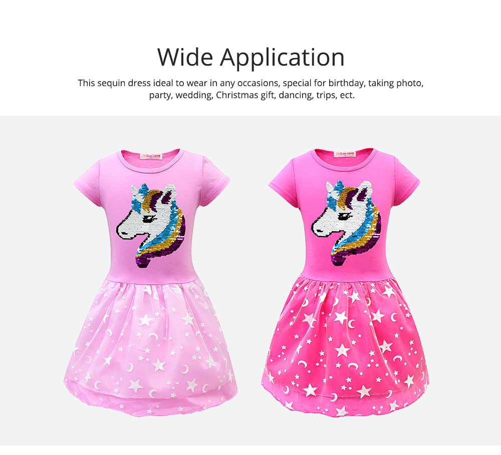 Girl Unicorn Princess Dress, Cute One-Piece Party Outfit Skirt Set, Bubble Skirt for 3-8 Years Old Girls 5