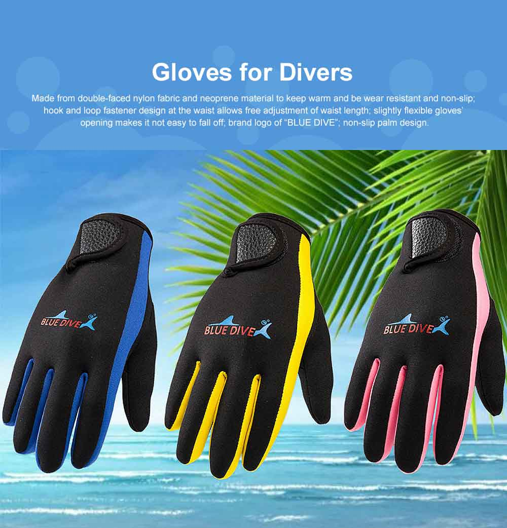 Diving Gloves for Divers, Wear Resistant Diving-dedicated Gloves, Underwater Working Gloves for Snorkeling, Diving, Winter Swimming, Surfing  0