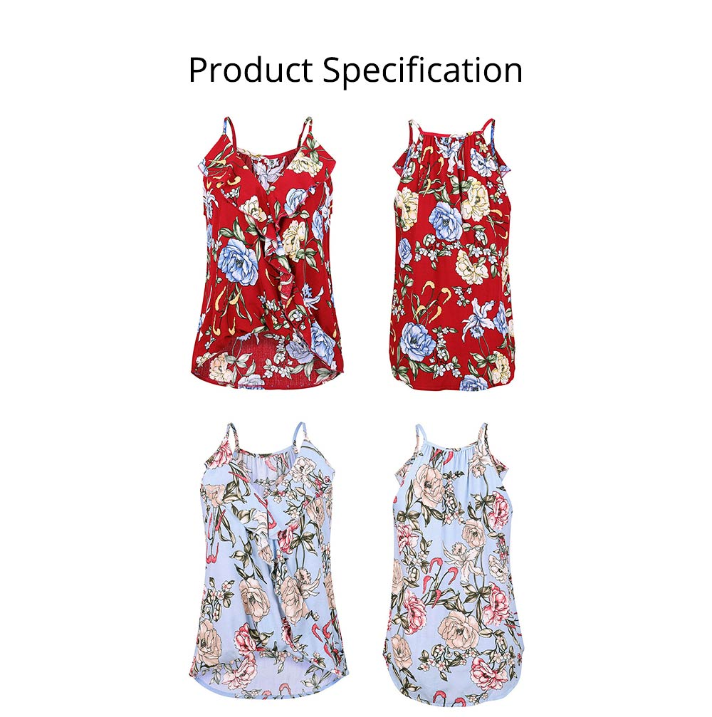 Summer Sleeveless Blouse with Sexy V-neck Design, Floral Printed Tank Tops, Basic Flowy Halter Tops for Women 6
