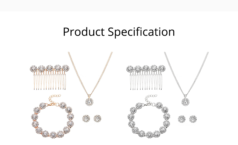 Wedding Bridal Jewelry Set 5 Pack, Women Fashion Accessories with Crystal Necklace, Earrings, Bracelet, Hair Comb 6