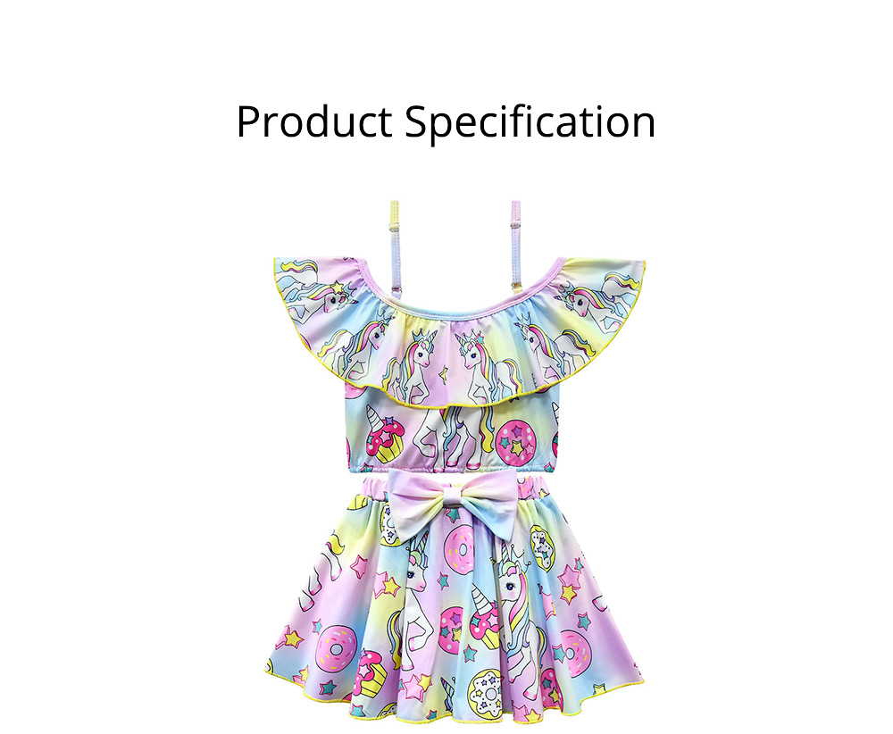 Girl Unicorn Printed Swimsuits, Cute One-Piece Ruffle Swimwear for Beach 3-10 Years Old Girls Bathing Suit  6