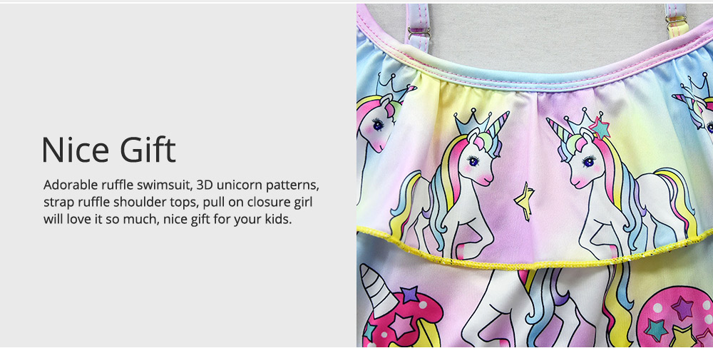 Girl Unicorn Printed Swimsuits, Cute One-Piece Ruffle Swimwear for Beach 3-10 Years Old Girls Bathing Suit  2