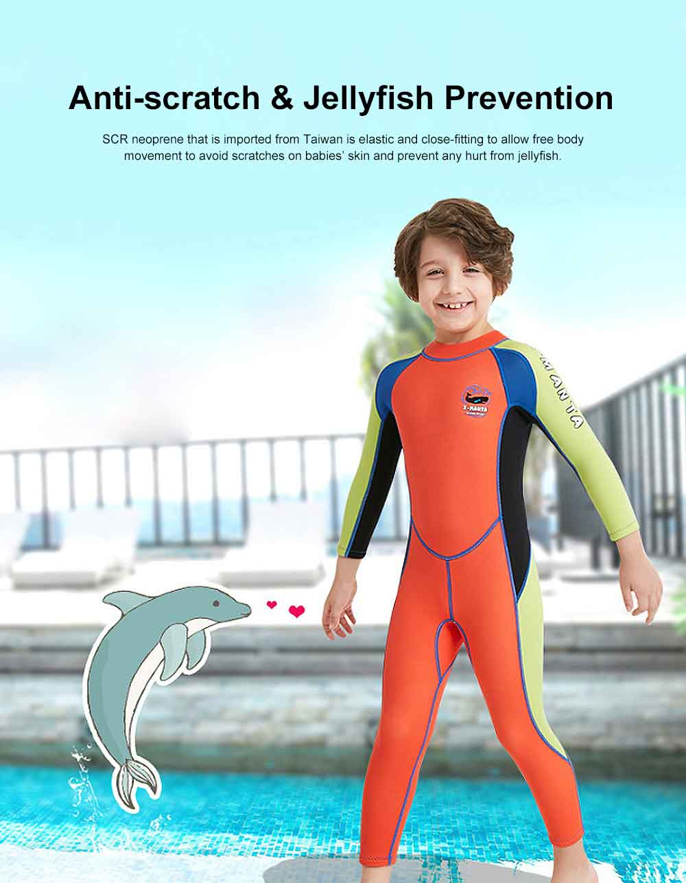 One-piece Boy Diving Suit, Long Sleeve Diving Clothes for Boys, Sunblock Swimsuits Snorkeling 2019 Spring Surfing Swimwear 3