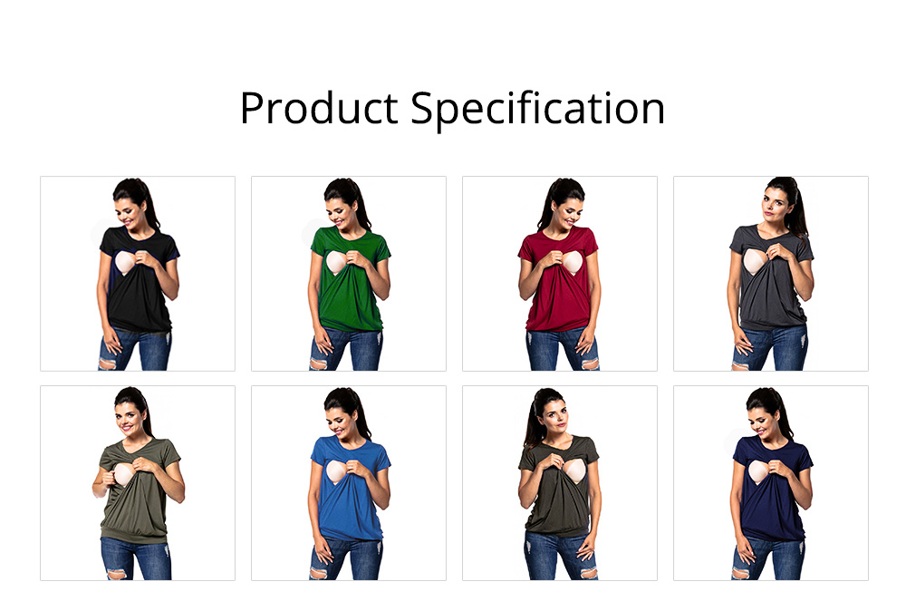 Maternity Women Blouse, Pure Color Nursing T-shirt, Loose Tunic Tops Short Sleeve Breastfeeding Top 5