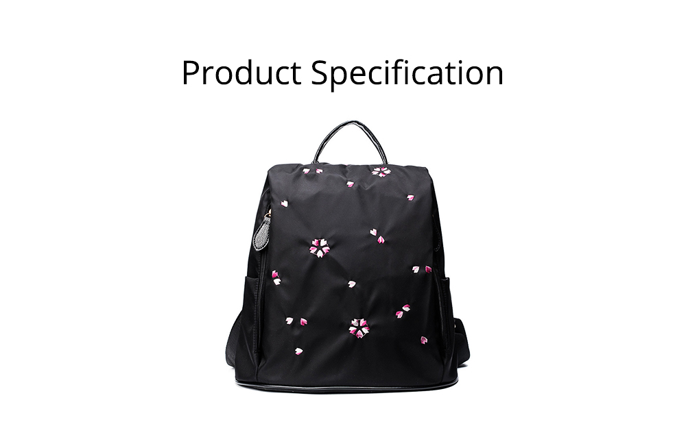 Fashion Black Backpack with Waterproof Nylon, Embroidery Flip Cover Shoulder Bag for Women Zipper Shoulder Bag 7