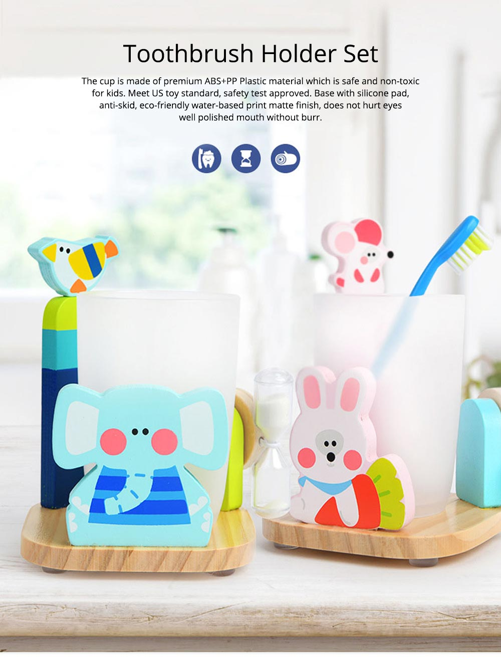 Cartoon Toothbrush Holder Set, Kids Toothbrush Cup Glass with 3 Minutes Sandglass, Timer, Best Gifts for Kids 0