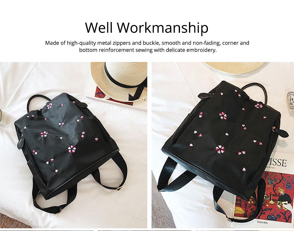 Fashion Black Backpack with Waterproof Nylon, Embroidery Flip Cover Shoulder Bag for Women Zipper Shoulder Bag 5