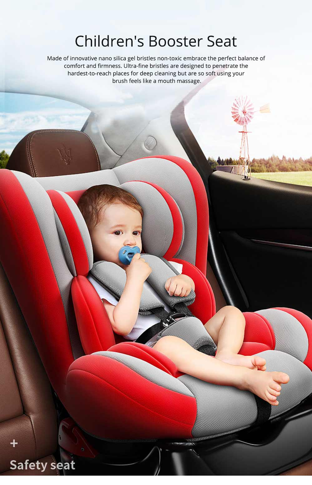 Children's Booster Seat Large Auto Car Seat Protectors for Child, Baby Safety Seat Thick Padding Car Seat 0