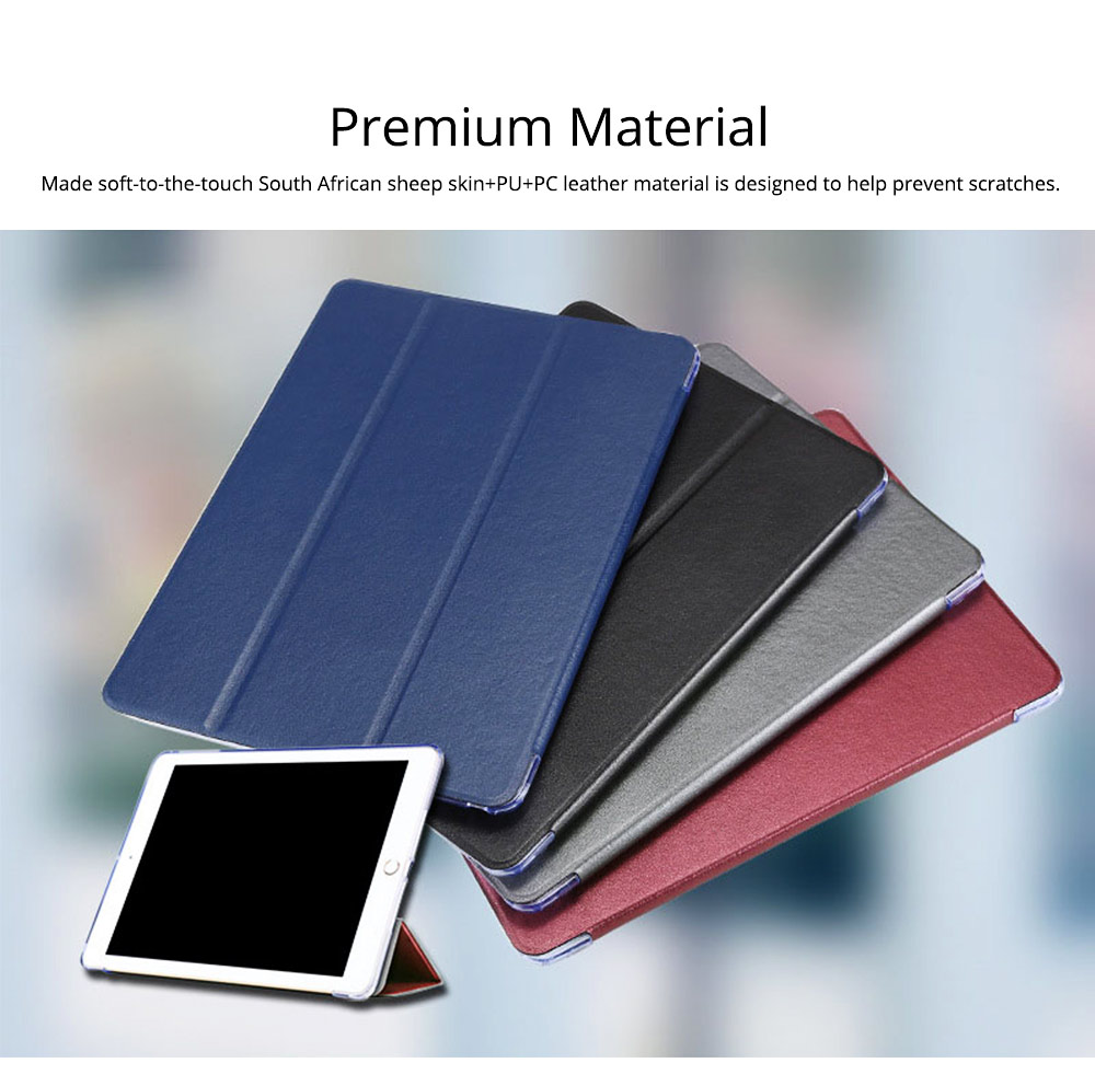 PU Leather Folio Case for iPad Pro 12.9, 10.5, 9.7, Multiple Angles Stand Smart Protective Cover, Trifold Stand Smart Shell Pure Color iPad Case 2