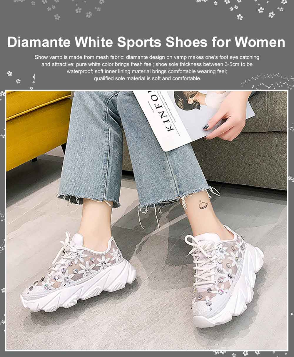 Diamante White Shoes with Grenadine Fabric, Thick Heel Casual Style Sneakers, Thin Gym Shoes 2019 Summer Spring 0