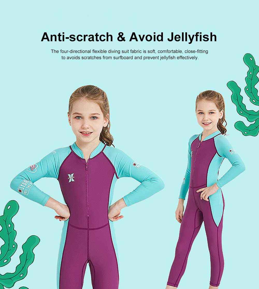 New Style Diving Suit for Children, Outdoor Used One-piece Sunscreen Diving Dress, Long Sleeves Quick-dry Children's Swimsuits All Season 3