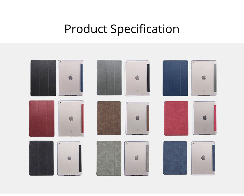PU Leather Folio Case for iPad Pro 12.9, 10.5, 9.7, Multiple Angles Stand Smart Protective Cover, Trifold Stand Smart Shell Pure Color iPad Case 6