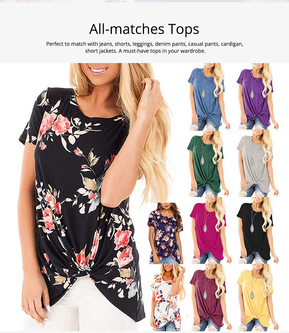 Women's Casual T-Shirt, Short Sleeve Tunic Tops with Front Knot Side Twist, Fashion Summer Blouses 2019 1