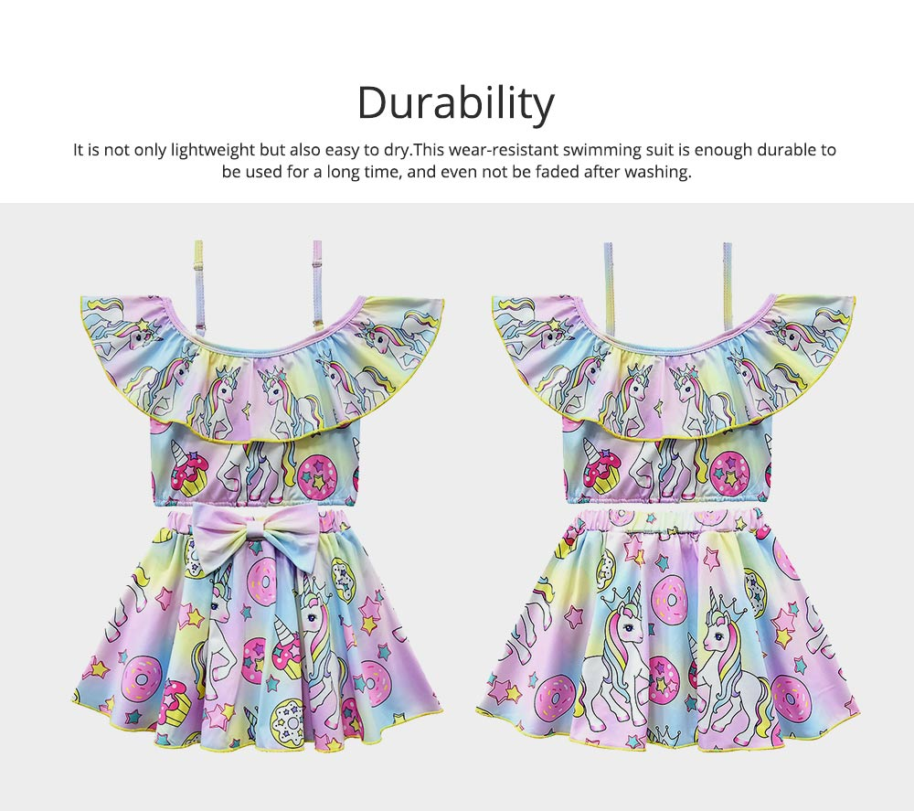 Girl Unicorn Printed Swimsuits, Cute One-Piece Ruffle Swimwear for Beach 3-10 Years Old Girls Bathing Suit  1