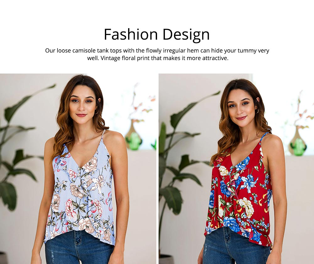 Summer Sleeveless Blouse with Sexy V-neck Design, Floral Printed Tank Tops, Basic Flowy Halter Tops for Women 1