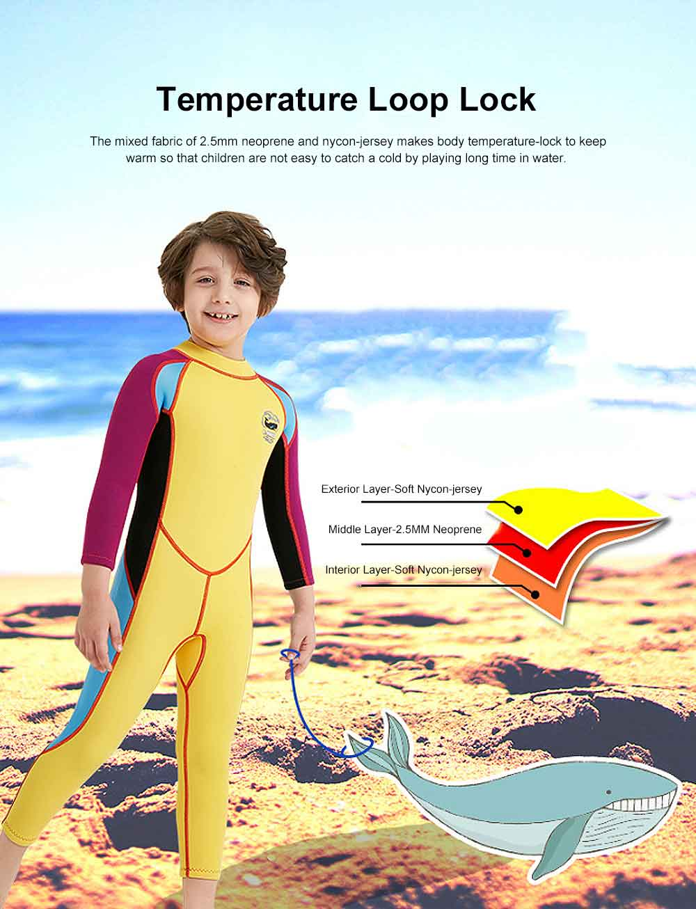 One-piece Boy Diving Suit, Long Sleeve Diving Clothes for Boys, Sunblock Swimsuits Snorkeling 2019 Spring Surfing Swimwear 1