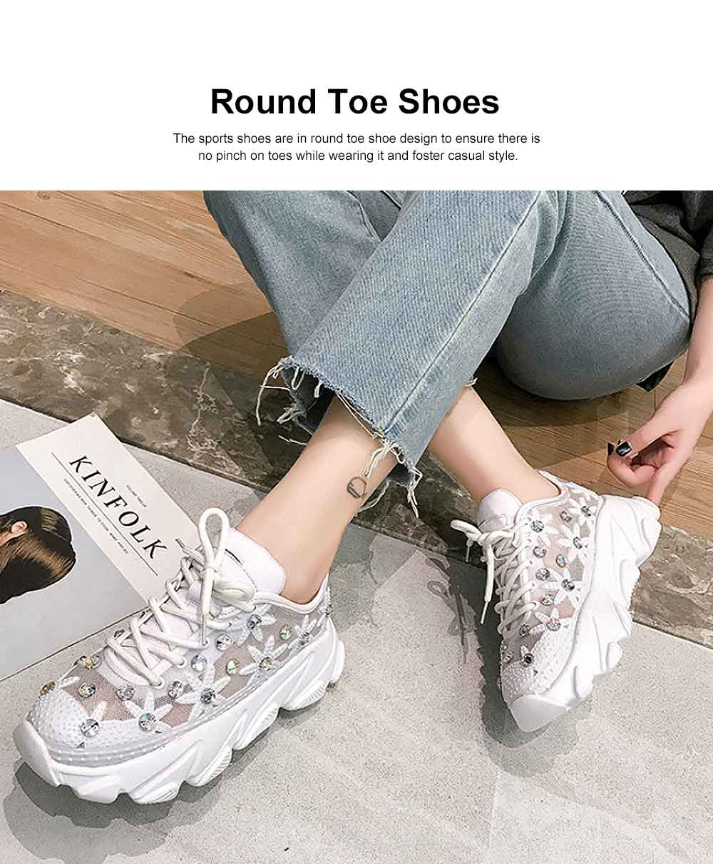 Diamante White Shoes with Grenadine Fabric, Thick Heel Casual Style Sneakers, Thin Gym Shoes 2019 Summer Spring 1