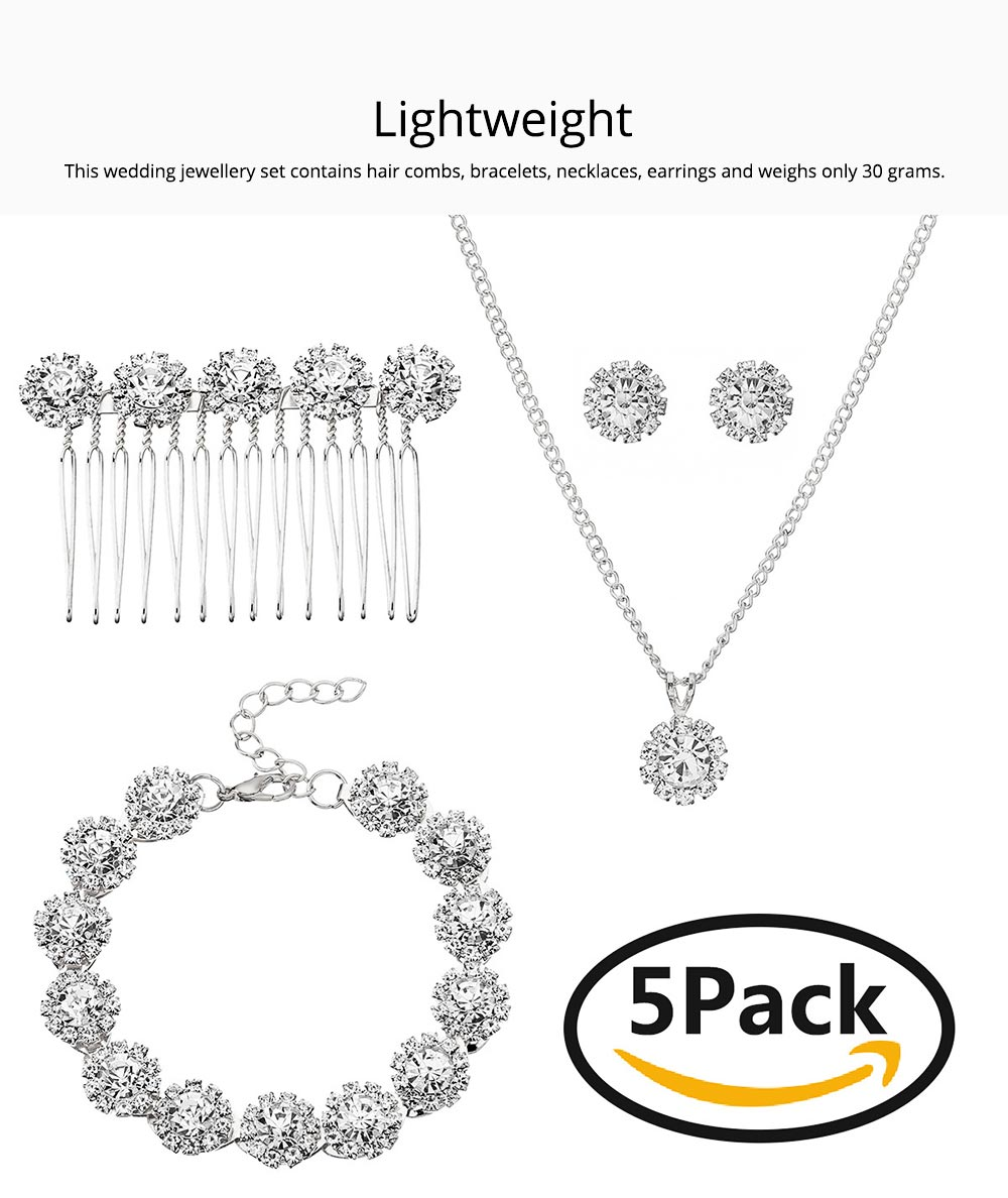 Wedding Bridal Jewelry Set 5 Pack, Women Fashion Accessories with Crystal Necklace, Earrings, Bracelet, Hair Comb 1