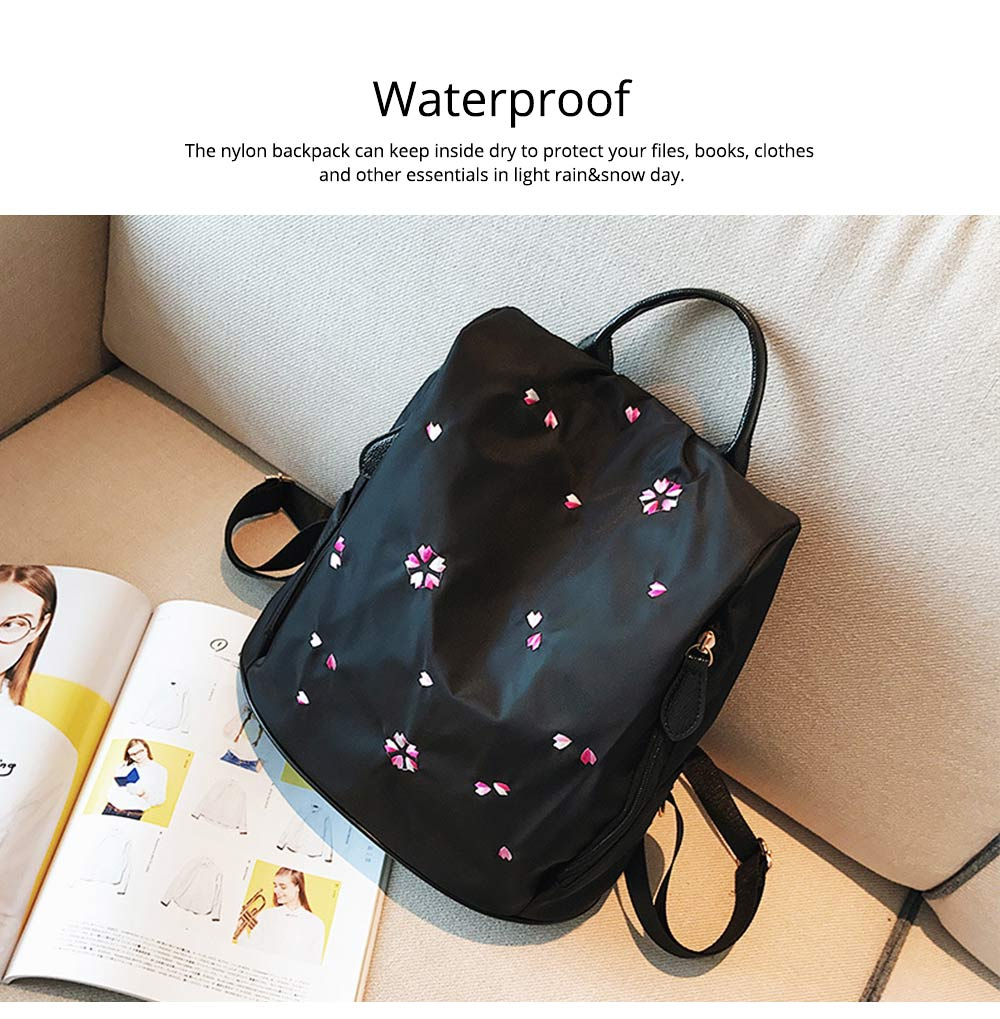 Fashion Black Backpack with Waterproof Nylon, Embroidery Flip Cover Shoulder Bag for Women Zipper Shoulder Bag 1