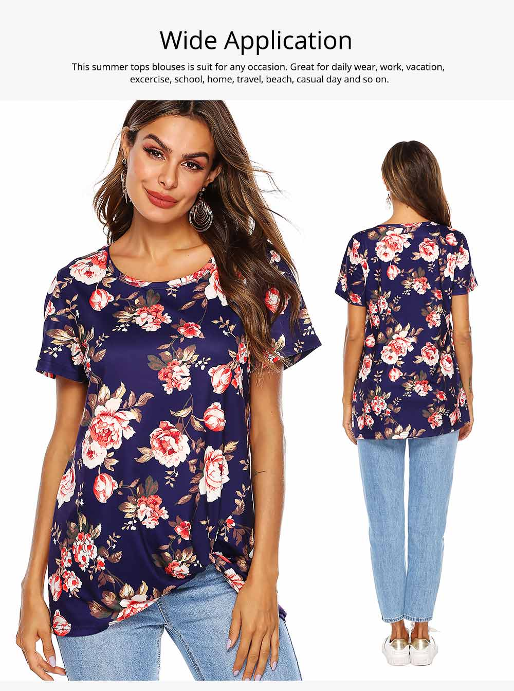 Women's Casual T-Shirt, Short Sleeve Tunic Tops with Front Knot Side Twist, Fashion Summer Blouses 2019 4
