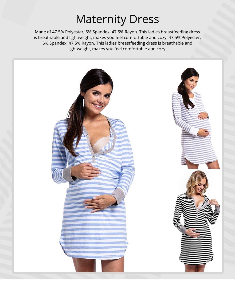 Maternity Dress with Striped, Nursing T-shirt Dress, Loose V-neck Pregnancy Dress Long Sleeve Breastfeeding Top 0