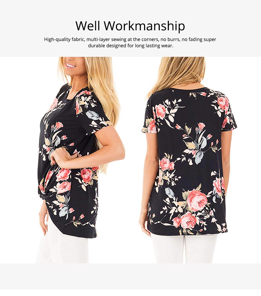 Women's Casual T-Shirt, Short Sleeve Tunic Tops with Front Knot Side Twist, Fashion Summer Blouses 2019 5