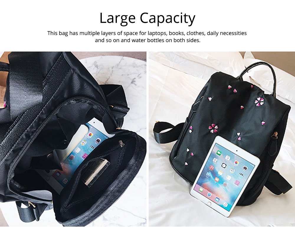 Fashion Black Backpack with Waterproof Nylon, Embroidery Flip Cover Shoulder Bag for Women Zipper Shoulder Bag 4