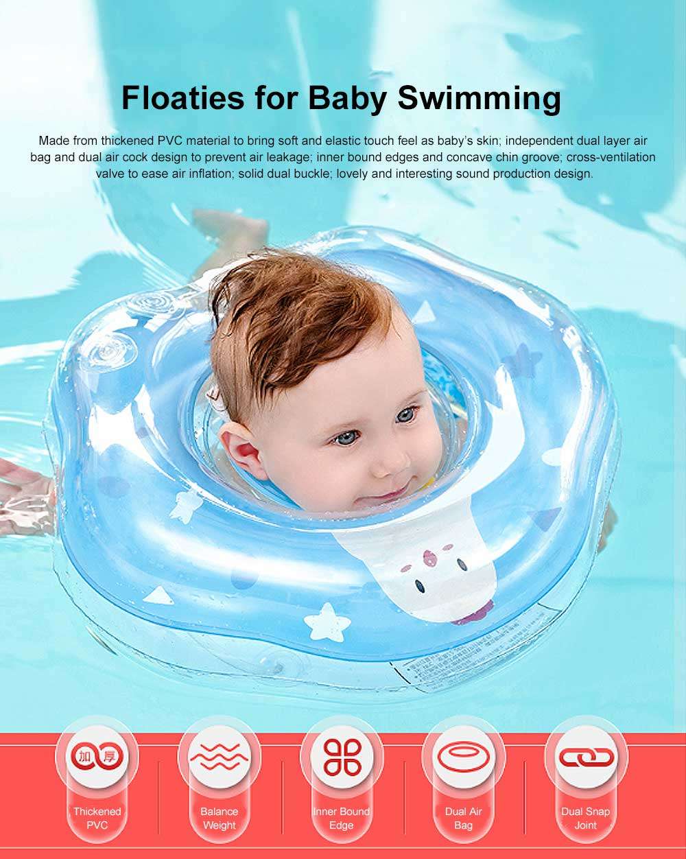 Swimming Ring for Training Babies Swimming, One to Twelve Months Floaties Chocking Proof Swimming Chokers, Double Layer Air Bag Floaties 0
